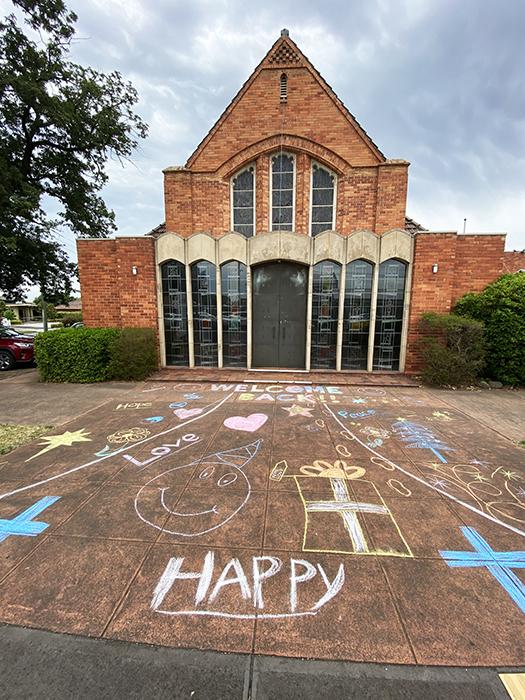 Messy Church chalk drawing